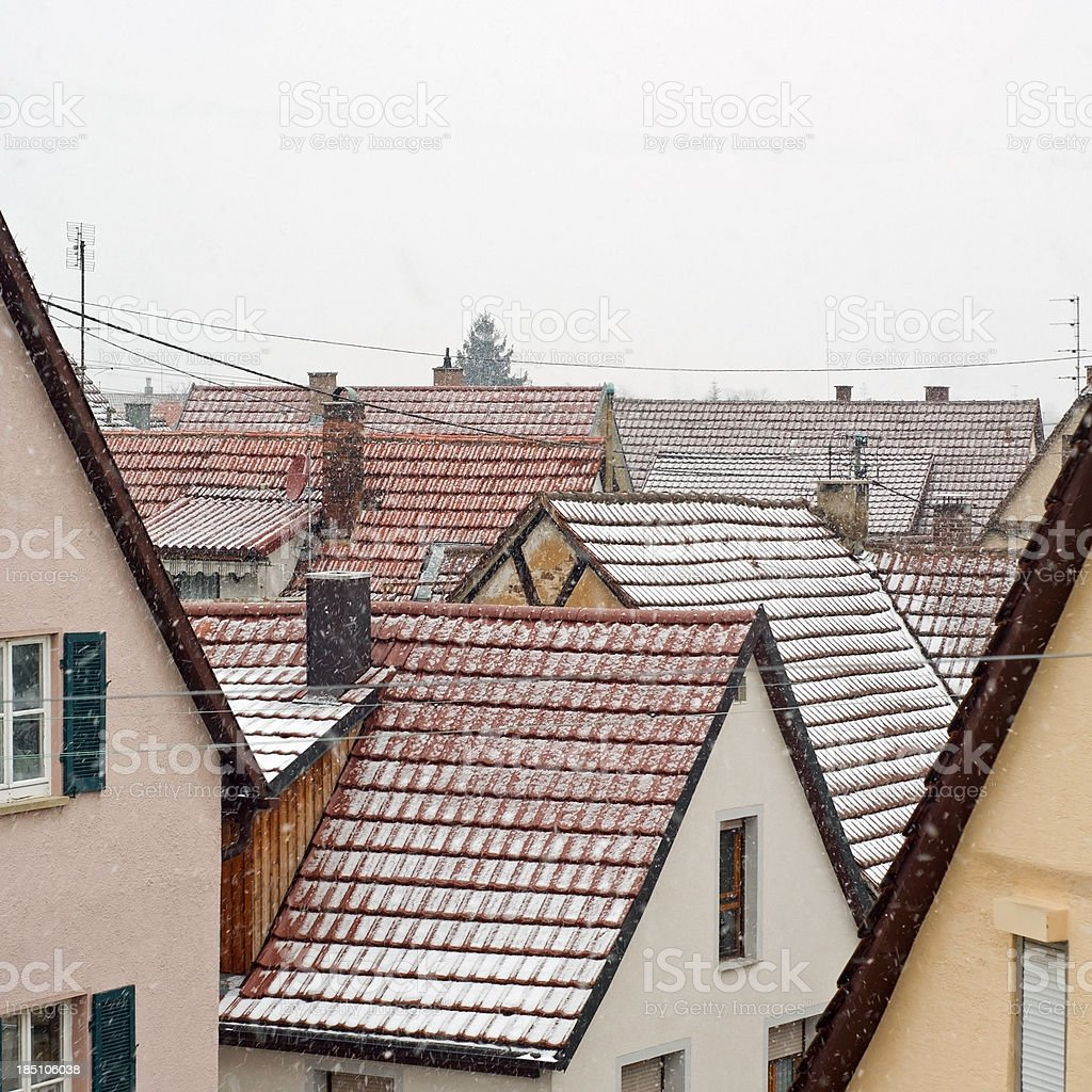 Snowfall in the city royalty-free stock photo