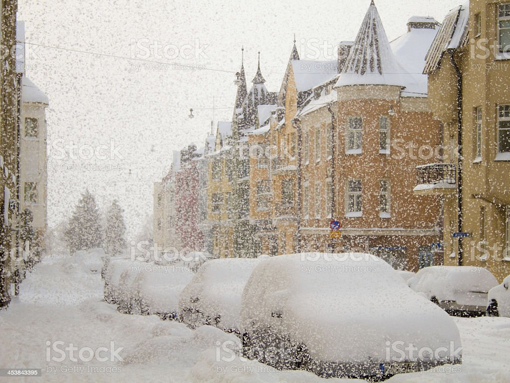 Snowfall in the city stock photo