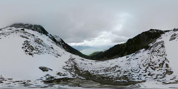 Snowfall In Winter Switzerland Alps Stock Photo - Download Image Now