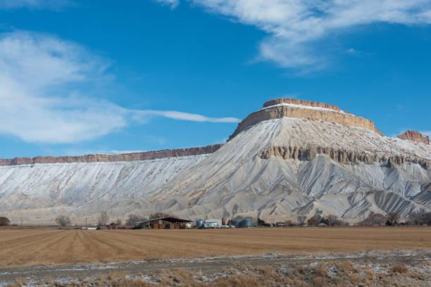 Snowfall of Mt. Garfield stock photo