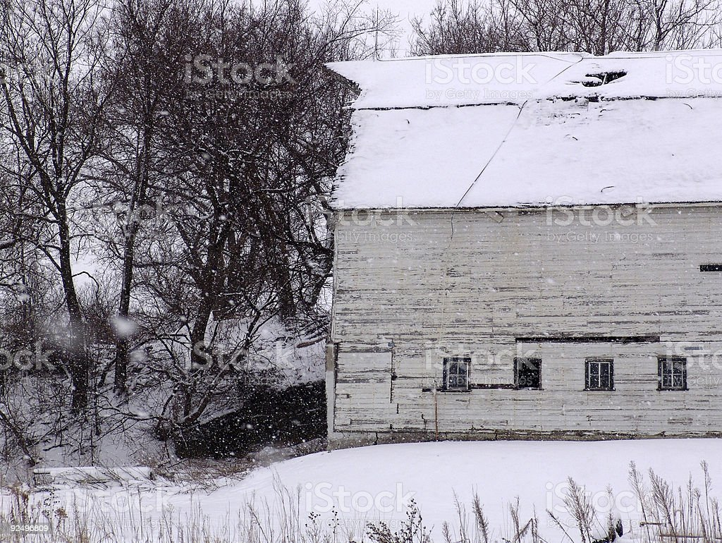 Snowfall on a Barn royalty-free stock photo