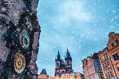 Astronomical Clock Tower on Old Town Square in Prague (Czech Republic, Europe) on a snowy winter evening.