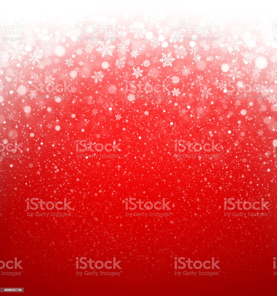 Snowfall on red stock photo