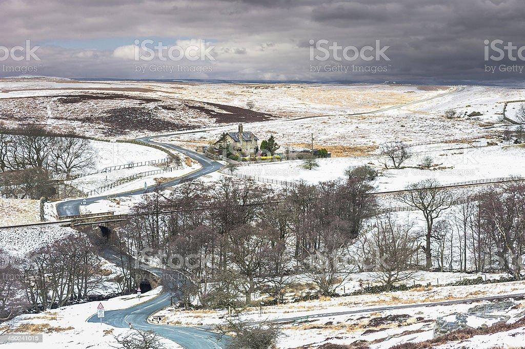 Snowfall over the North York Moors, Goathland, Yorkshire, UK. stock photo