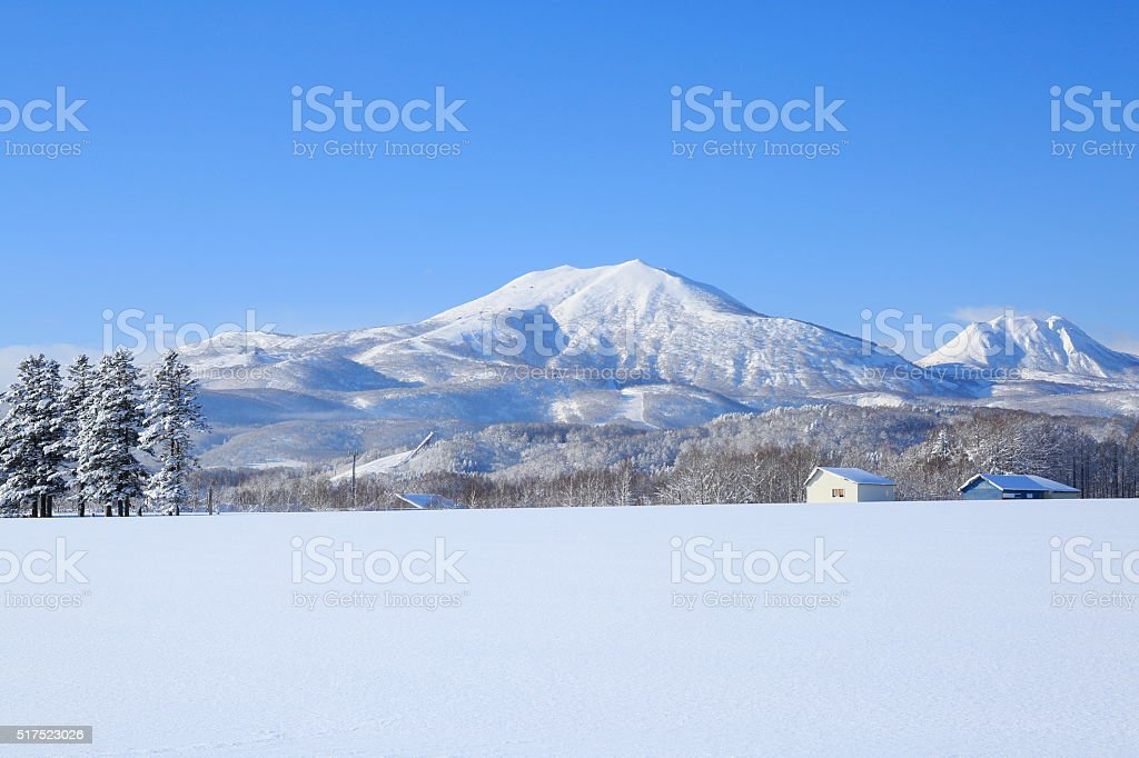 Snowfield and Niseko volcanic group stock photo