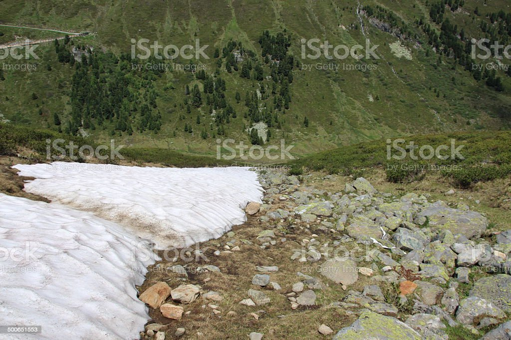 Snowfield and Rocks in the Alps, Kühtai, Tyrol, Austria stock photo