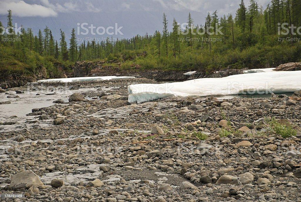 snowfield Putorana plateau, the river valley. royalty-free stock photo