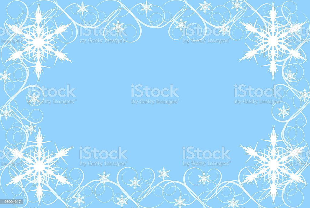 Snowflake and Swirl Border on Blue Background royalty-free stock photo