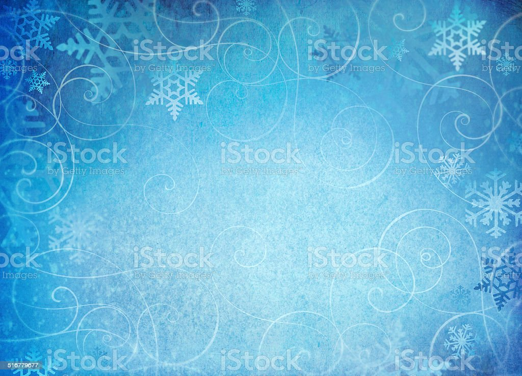 Snowflake background with swirl accents. stock photo