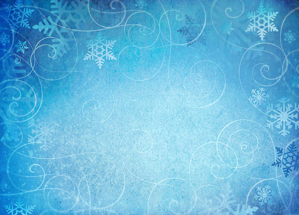 snowflake background with swirl accents. - snowflake background stock pictures, royalty-free photos & images