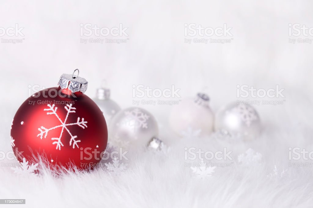 Snowflake Baubles on a fluffy background (XXL) stock photo