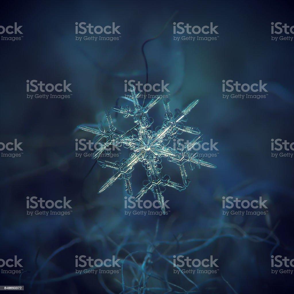 Snowflake glittering on dark textured background stock photo