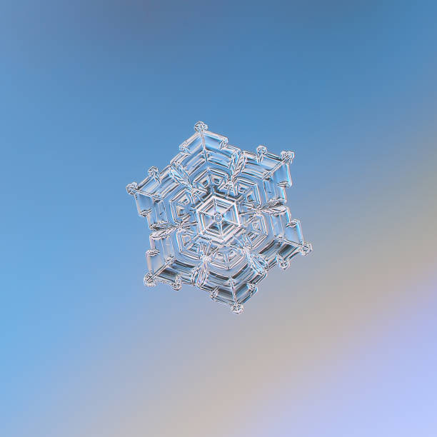 Snowflake glittering on smooth gradient background Snowflake glittering on smooth gradient background. Macro photo of real snow crystal: star plate with glossy surface, hexagonal symmetry, six short, broad arms and complex inner pattern. real life stock pictures, royalty-free photos & images