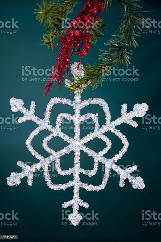 snowflake & greenery royalty-free stock photo