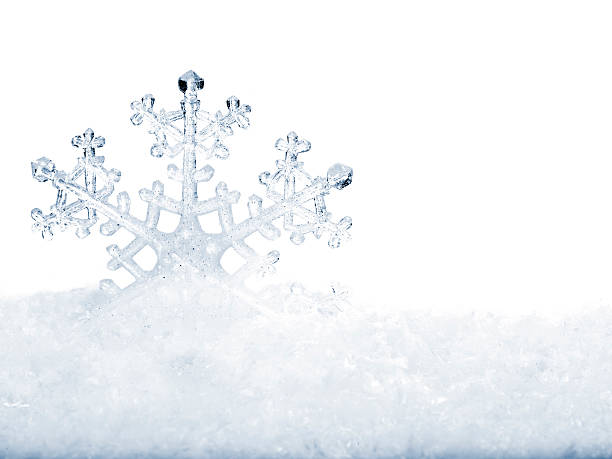 Snowflake in white snow. stock photo