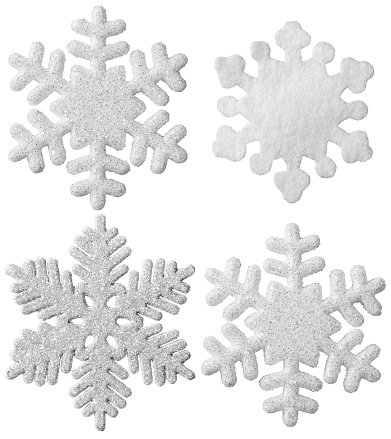 Snowflake Christmas Hanging Decoration, White Snow Flake Ornament, Isolated New Year Toys