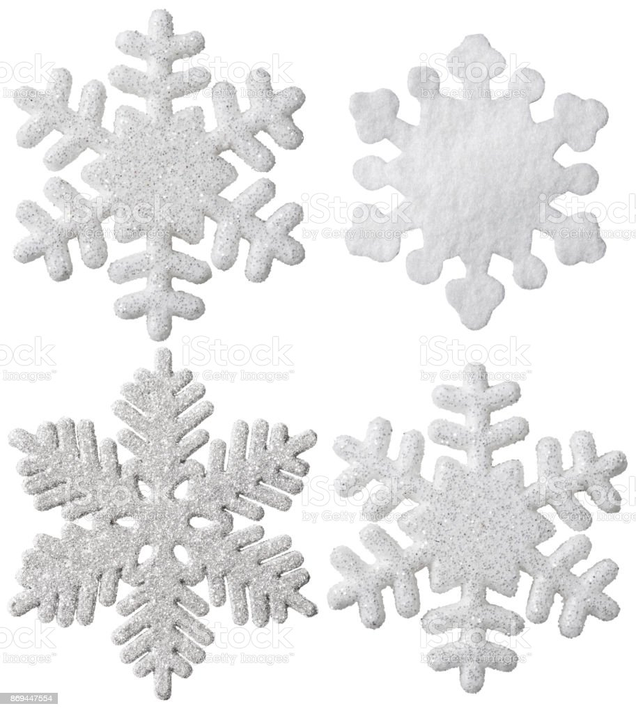 Snowflake Isolated Christmas Hanging Decoration, White Snow Flake Ornament, New Year Toy stock photo