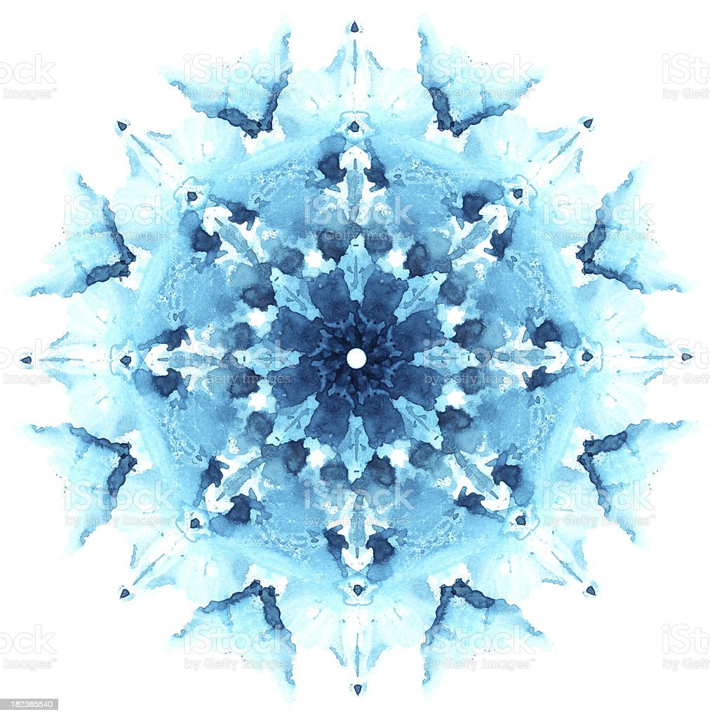 Snowflake made from imprint watercolor spot stock photo