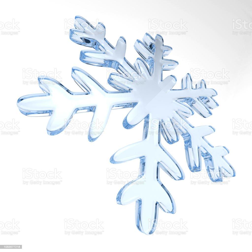 Schneeflocke auf weißem Hintergrund. Isolierte 3D-Illustration – Foto