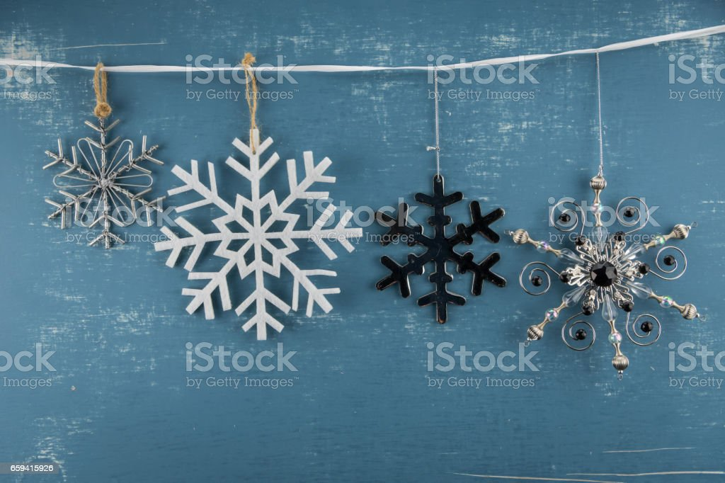 Snowflake Ornaments in Descending Height stock photo
