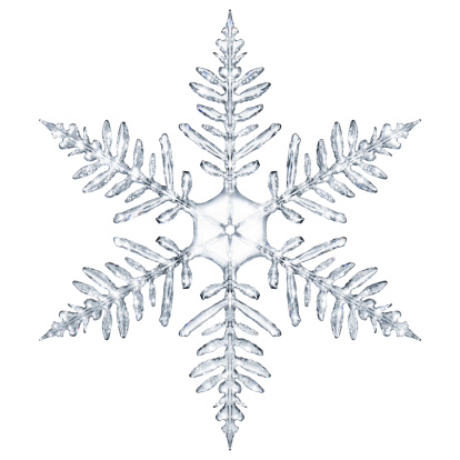 Snowflake isolated, fresh with neutral cold colors. Realistic and very high detailed with prismatic light and details. Modeled with macro reference shots of snowflakes. HDRI lightening.