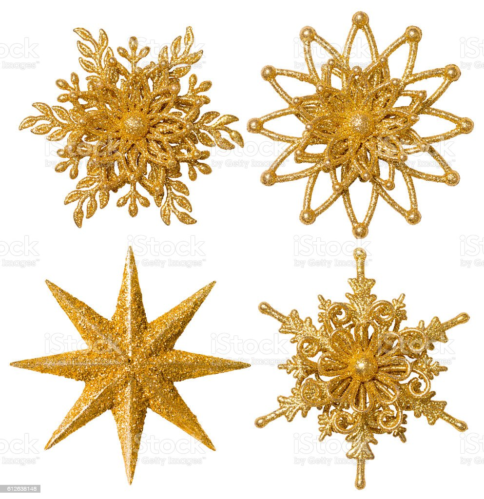 Snowflake Star Christmas Decoration Ornament, Xmas Gold Sparkling Set, Isolated stock photo