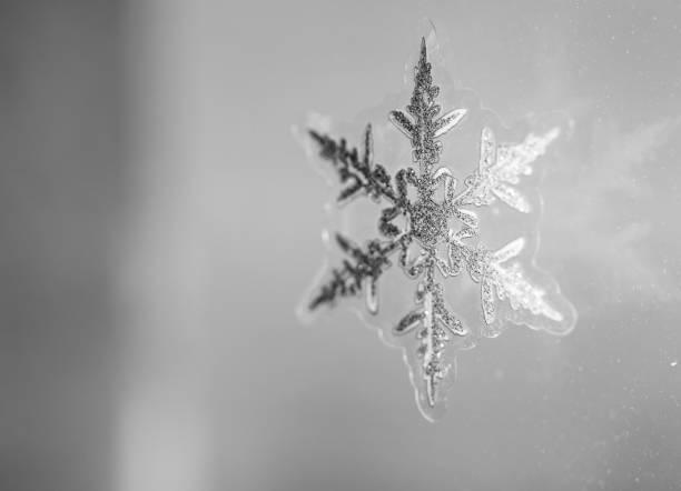 Snowflake symbol on the window glass.