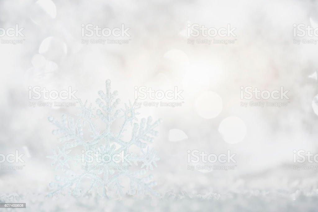 Snowflake with bokeh background stock photo