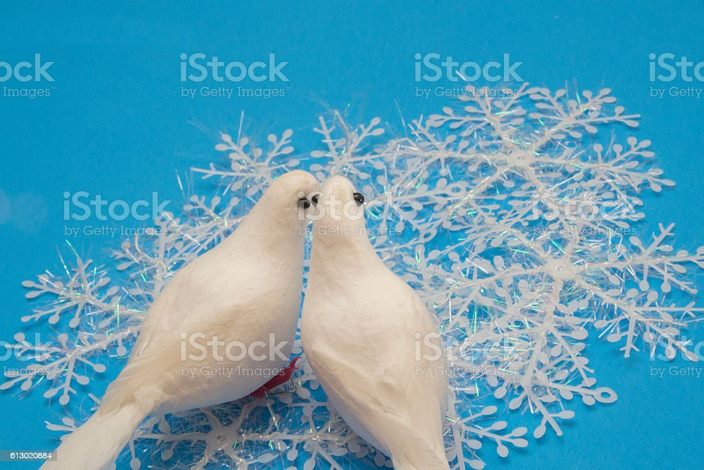 Snowflakes and Doves stock photo