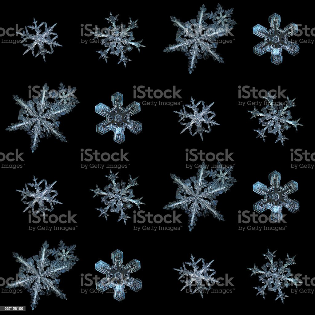 Snowflakes isolated on black background stock photo