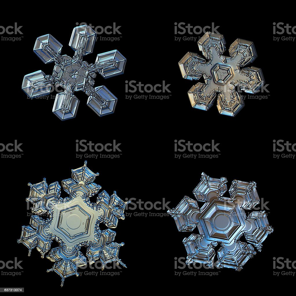 Snowflakes isolated on black background stock photo