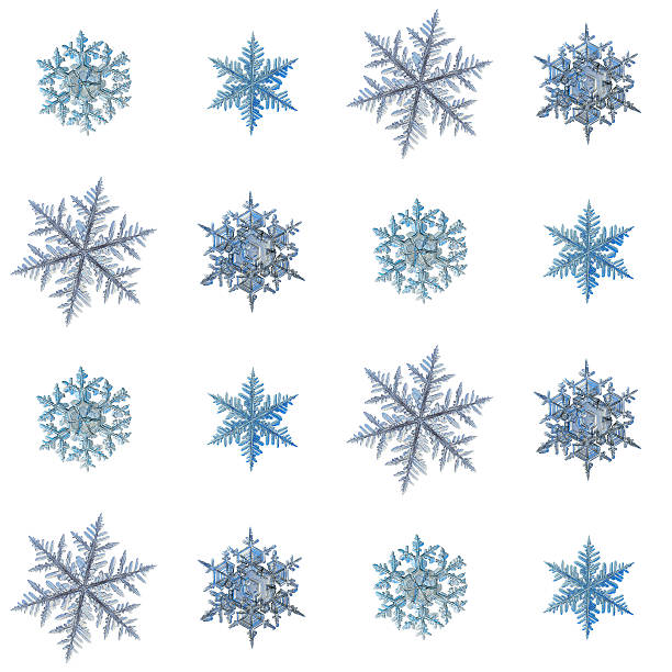 snowflakes isolated on white background - ice crystal stock pictures, royalty-free photos & images
