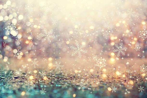 抽象閃亮的光背景上的雪花 - holiday 個照片及圖片檔