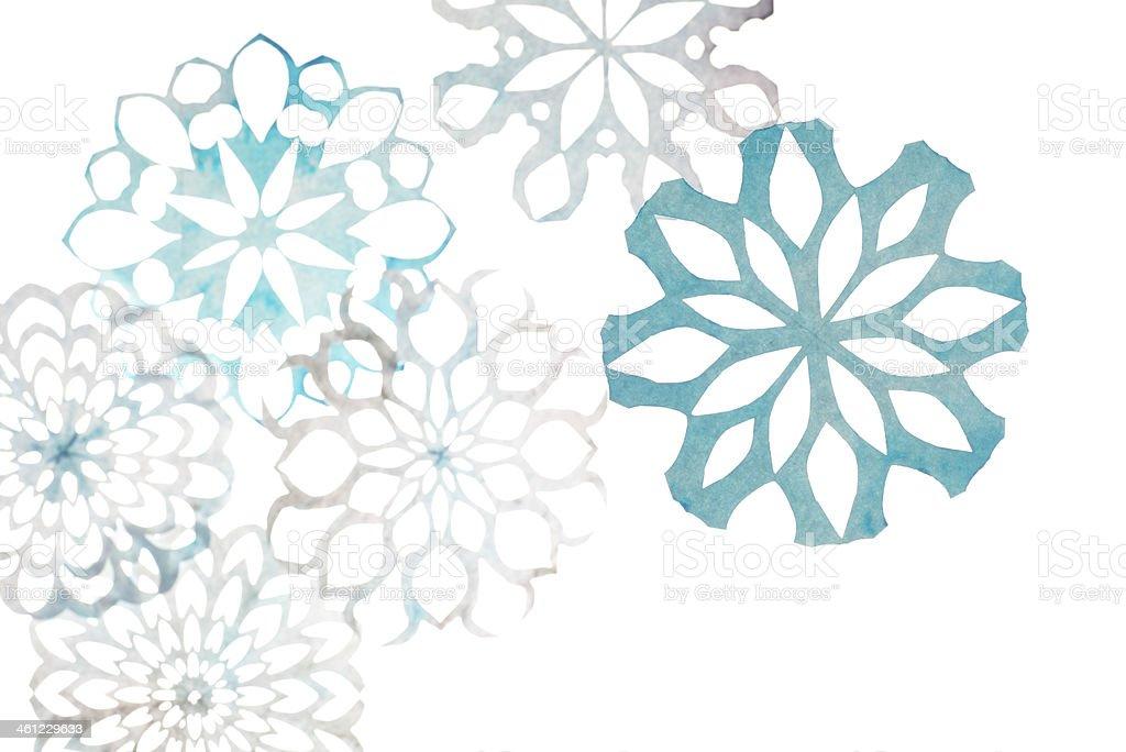 Snowflakes Winter snowflakes on white Art Stock Photo
