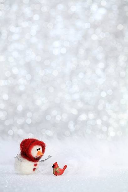 Snowgirl and red bird stock photo