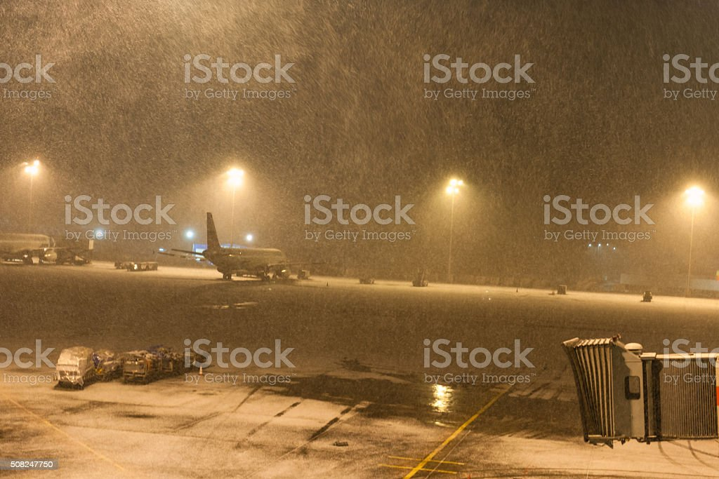 Snowing at Ataturk Airport Istanbul,morning, snowstorm, Turkey stock photo