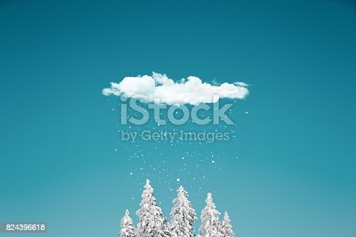 istock Snowing From The Cloud 824396618