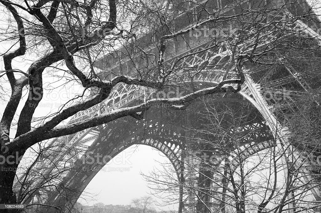 Snowing in  Paris royalty-free stock photo
