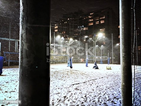 Snowing on a Volleyball Court