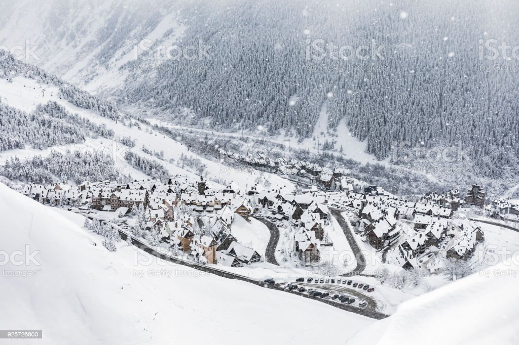 Snowing on Baqueira Beret in winter Catalonia Spain stock photo