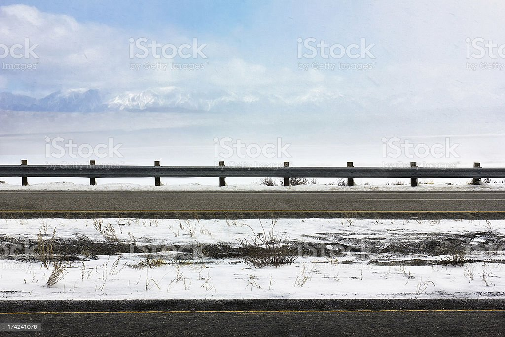 Snowing on Highway stock photo