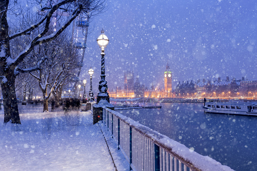 Snowing on Jubilee Gardens in London at dusk