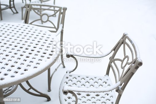 A patio furniture covered with snow
