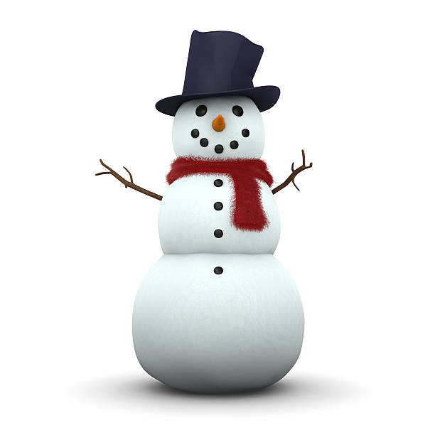 """Snowman 3D """"A snowman with fluffy scarf and hat isolated on white. 3D, XXXL."""" snowman stock pictures, royalty-free photos & images"""