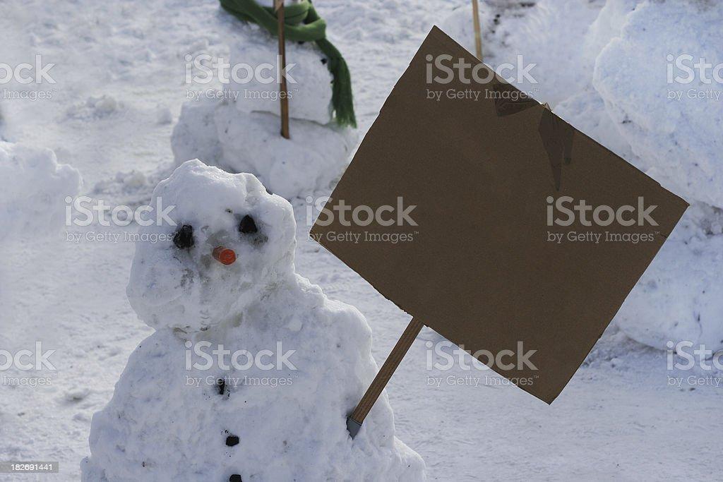 Snowman activist 3 royalty-free stock photo