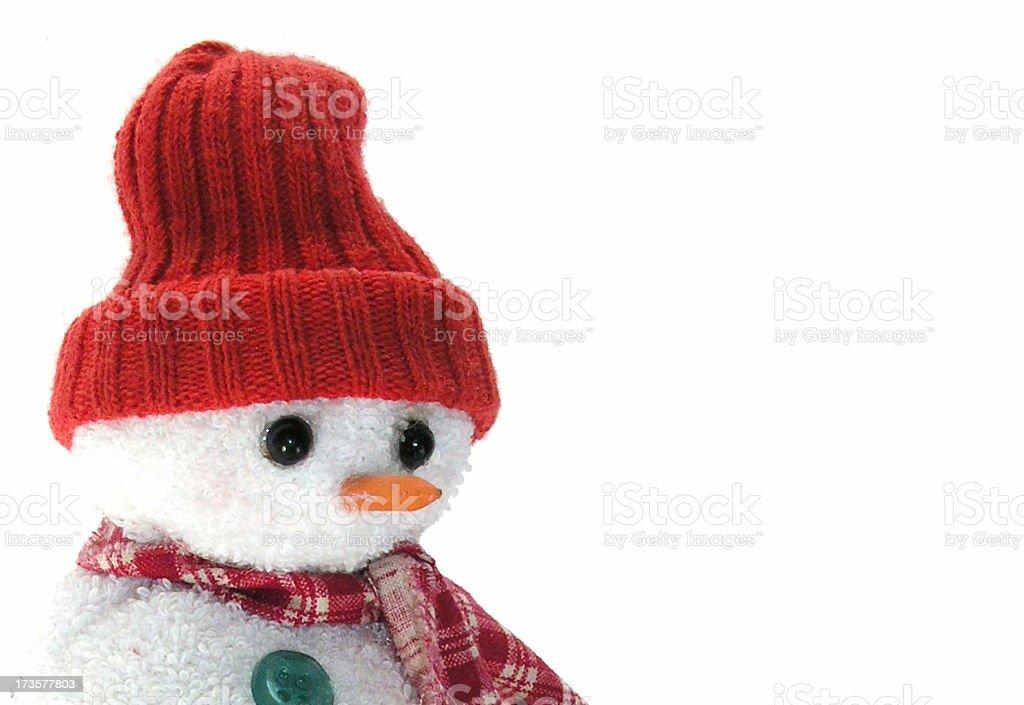 Snowman alone stock photo