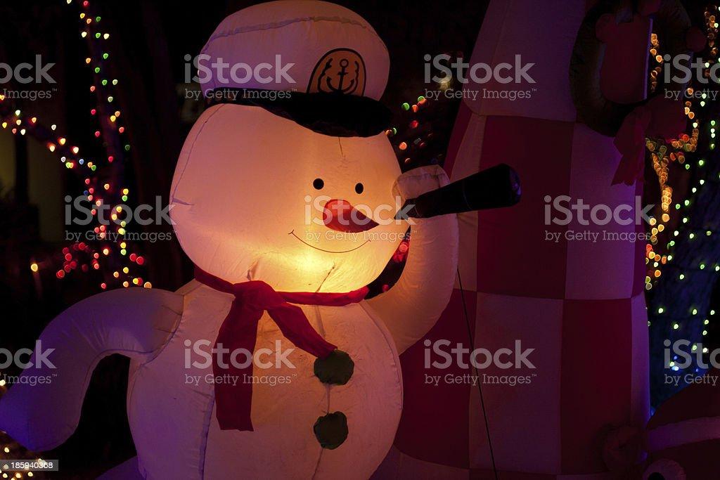 snowman and christmas lights royalty-free stock photo