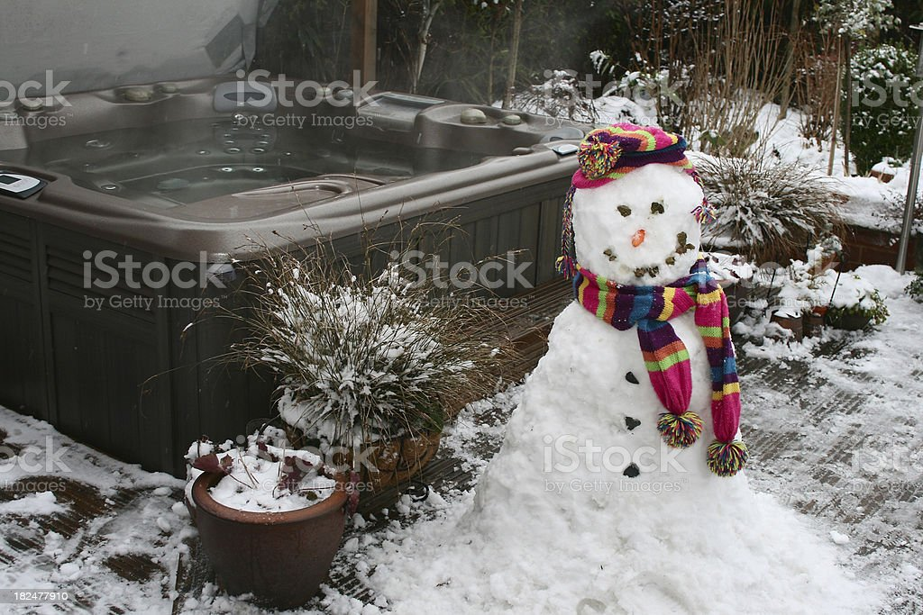 Snowman And Spa royalty-free stock photo