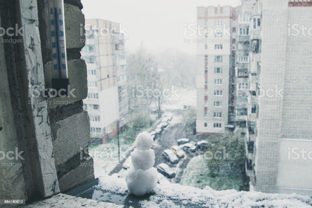snowman at april day royalty-free stock photo