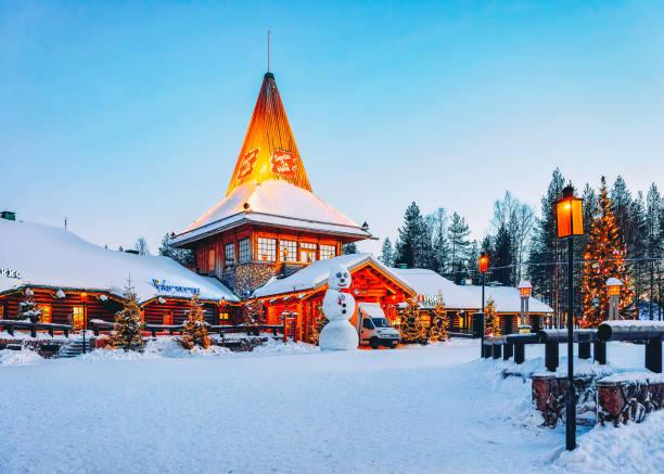 Snowman at Santa Office at Santa Claus Village in Rovaniemi stock photo